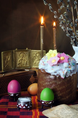 The traditional christian easter still life Stock Photo - 9393483