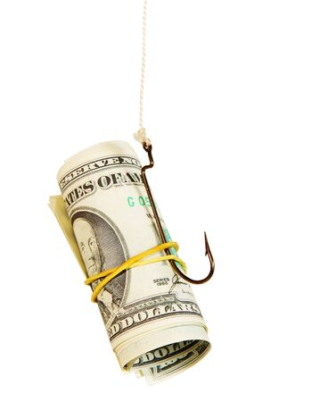 hooked: The concept. Dollars as a bait hang on a hook against the white background