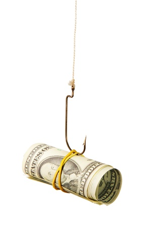The concept. Dollars as a bait hang on a hook against the white background