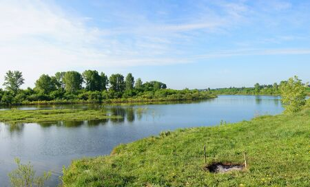 river banks: Summer landscape.  Beautiful sight on the river Stock Photo