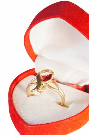 Golden Ring with a ruby and zirconium photo