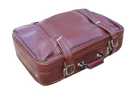 Old red road suitcase photo