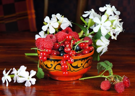 Still life with various Berry and white flowers Stock Photo - 10843531