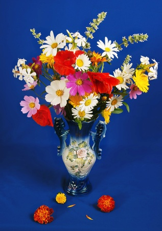 The luxuriant bouquet of various flowers on a dark blue background photo
