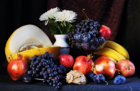 Classical interior still life with fresh fruits photo