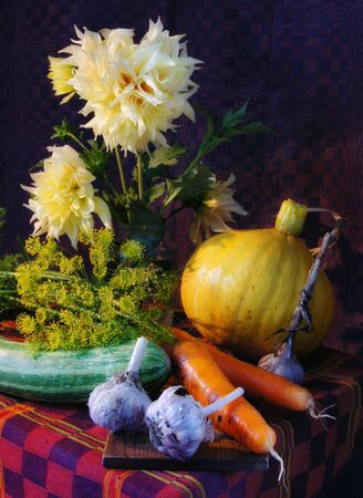 Rustic interior still life with vegetables and flowers photo