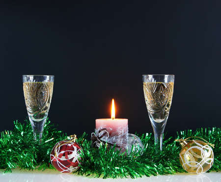 Christmas still life against the black background photo
