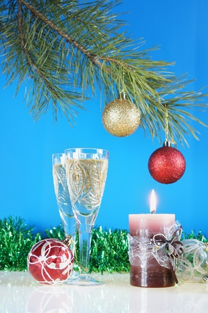 New Year still life against the blue background photo
