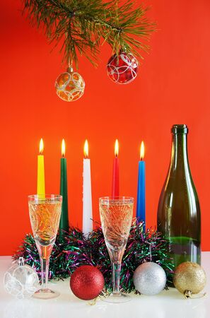 Christmas still life against the red background Stock Photo - 11394981