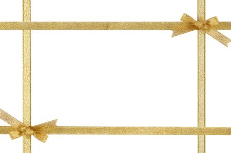 gold bow: Holiday frame with gold ribbons and bows