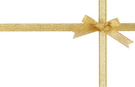 Holiday gold ribbons Stock Photo