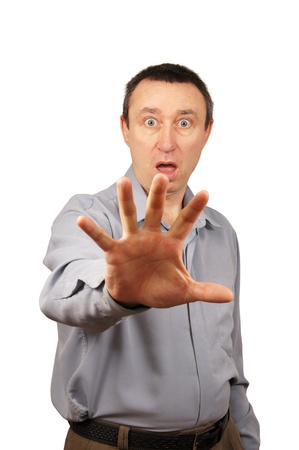 Man hides himself by hand Stock Photo - 12728622