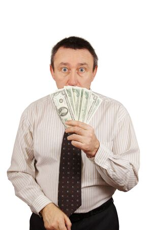 Frightened man hid his face behind the money Stock Photo - 12728762
