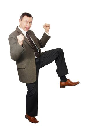 Dancing man in business suit