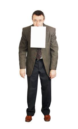 Man holds a blank sheet of paper in his mouth Stock Photo - 12729538