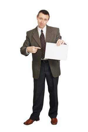 Man with a blank sheet of paper Stock Photo - 12721690