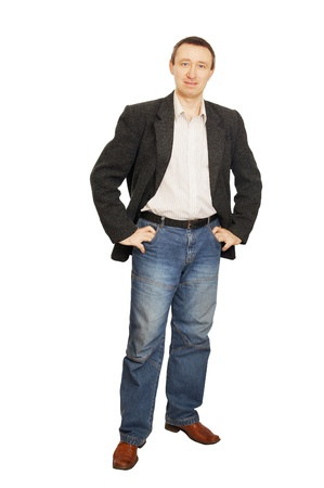 Man in a jacket and dark blue jeans photo