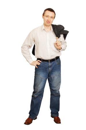 Man put a jacket on a shoulder Stock Photo - 12894132