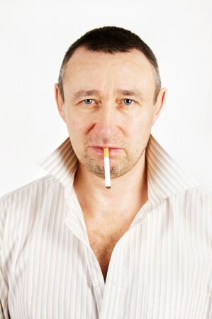 sleazy: Unshaven man with a cigarette