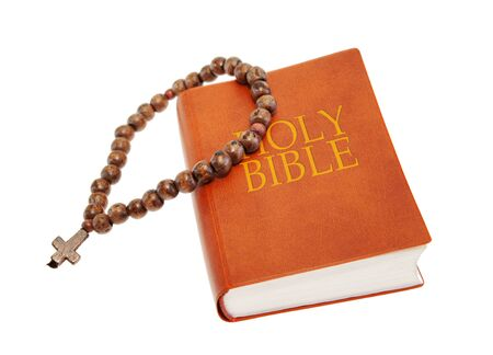 Holy Bible and beads photo