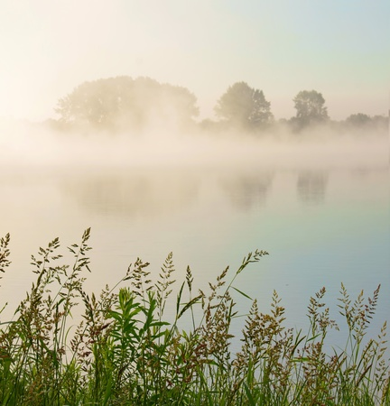 Beautiful misty morning at the river