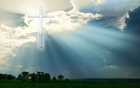Cross shines over the Earth Stock Photo - 12974822