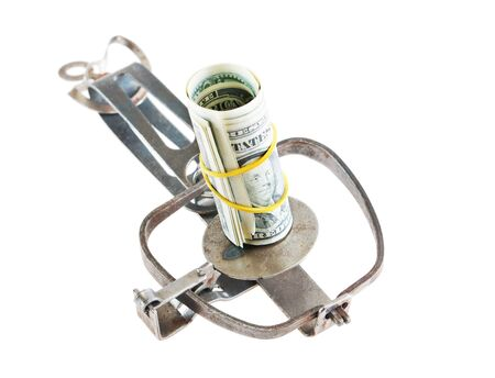 avidity: Open trap with a bundle of dollars Stock Photo