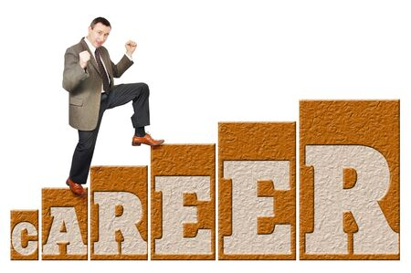 Man climbs up on a career ladder Stock Photo - 13086289