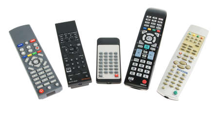 remote controls: Remote controls for electronics isolated over white background