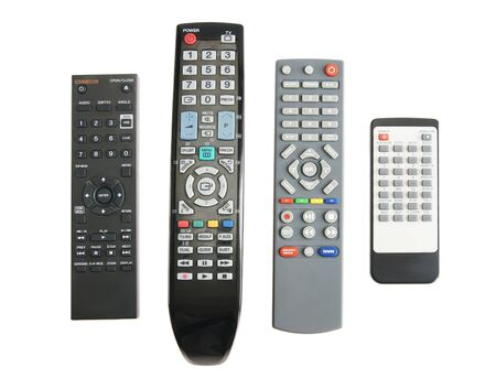 Remote controls for electronics isolated over white background