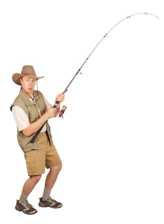 p�cheur: P�cheur attrap� un gros poisson