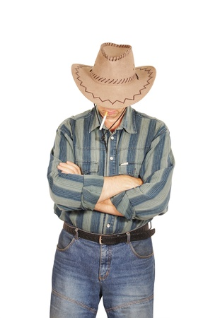 Macho with a cigarette in a cowboy hat isolated on white background photo