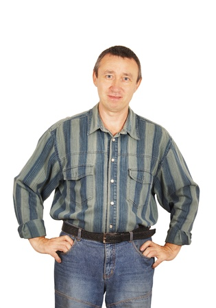 Man in a denim dress isolated on white background