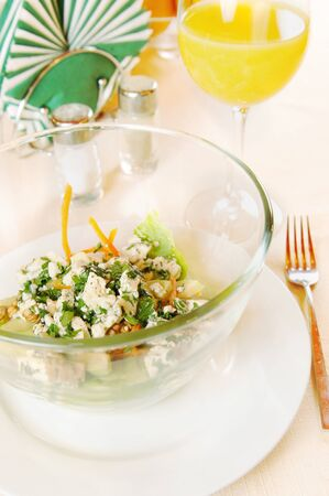 pepperbox: Plate with salad on the laid table