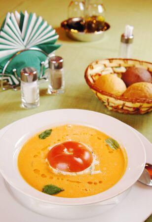 Traditional Spanish tomato soup  Gazpacho on a table photo