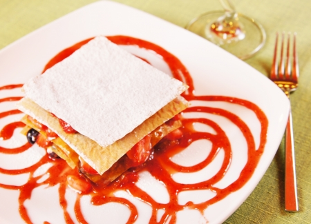 Dessert Layered cake with frozen berries and jam Stock Photo - 15735058