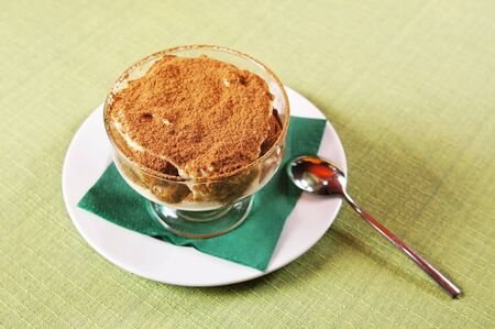 Tiramisu in a little glass dish Stock Photo - 15735054