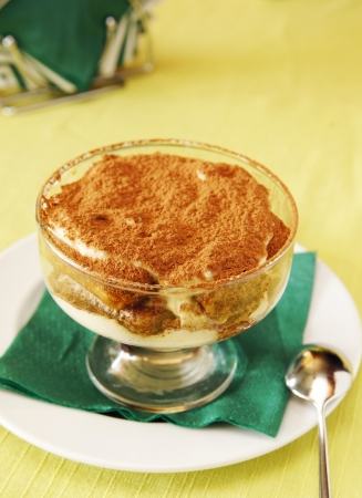 Tiramisu in a little glass plate Stock Photo - 15735060