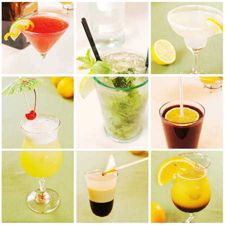 Collage about different cocktails photo