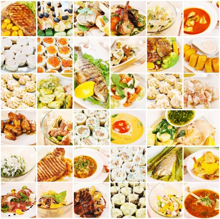 Collage about gourmet food