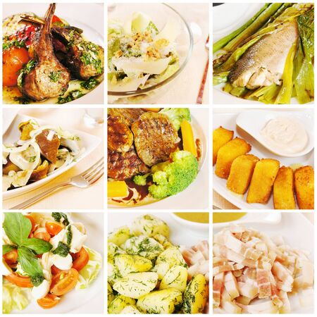 Collage gourmet food Stock Photo