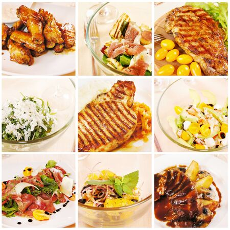 small plate: Collage of gourmet food Stock Photo