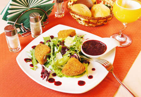 Fried Camembert with cranberry sauce Stock Photo - 15967675