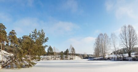 Winter frozen river in a sunny cold day Stock Photo - 16059753