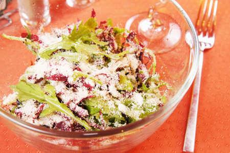 peppery: Salad with fresh peppery arugula and radiccio