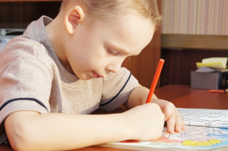Little boy is drawing with pencils in a book Stock Photo - 16119957