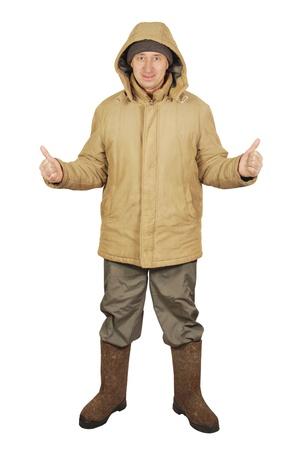 valenki: Man dressed in winter clothes Stock Photo