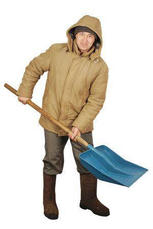 Man with a big spade for snow cleaning Stock Photo - 17362025