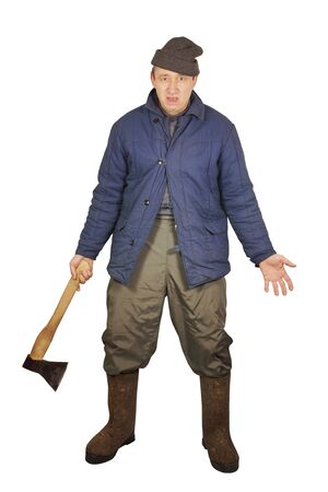 Aggressive drunkard with an axe Stock Photo - 17382445