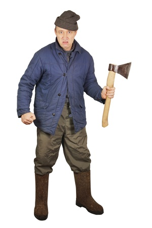 enraged: Aggressive enraged man with an axe